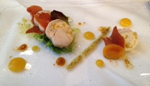 Ballotine of Chicken Rabbit and Apricot at Opus Restaurant, Birmingham